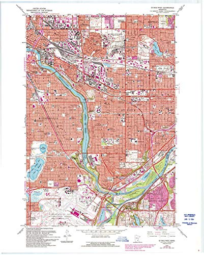 YellowMaps St Paul West MN topo map, 1:24000 Scale, 7.5 X 7.5 Minute, Historical, 1967, Updated 1993, 27.23 x 21.53 in - Polypropylene from YellowMaps