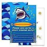 WERNNSAI Shark Party Invitations with Envelopes - Shark Party Supplies 20 Set Invitation Cards for Boys Birthday
