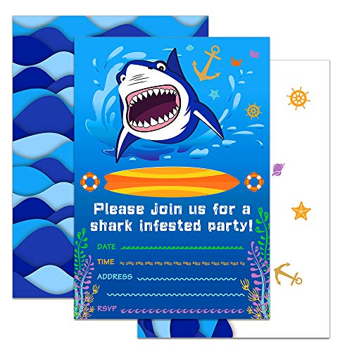 WERNNSAI Shark Party Invitations with Envelopes - Blue Ocean Shark Party Supplies 20 Set Invitation Cards for Boys Birthday Baby Shower Pool Party -