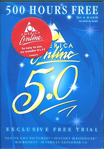 AOL AMERICA ONLINE 5.0 CD /500 HOURS FREE /BRAND NEW IN HARD PLASTIC CASE!!