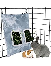 LeerKing Rabbit Hay Bag Guinea Pig Canvas Hay Feeder Storage Pet Hay Pouch with Feeding Holes for Piggies Bunny Chinchilla Hamsters Small Animals