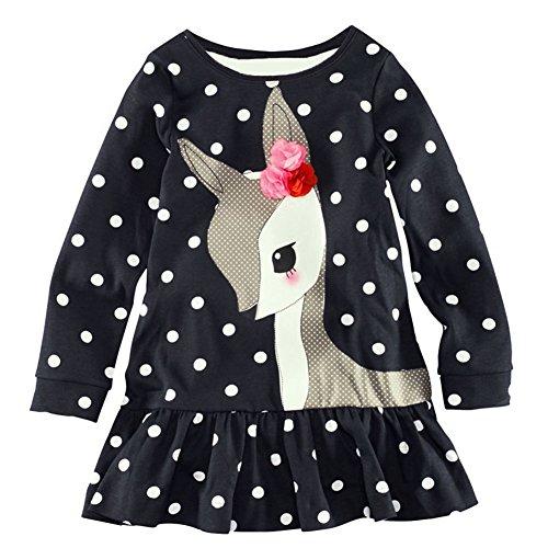 Weixinbuy Baby Girls Dress T-shirts Long Sleeve One Piece Deer Print Tops