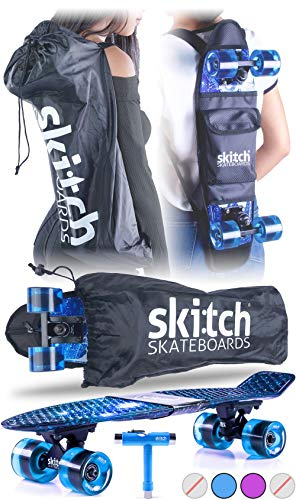 Skitch Complete Skateboards Gift Set for Beginners Boys and Girls of All Ages with 22 Inch Mini Cruiser Board + Skateboard Backpack + Skate Tool + Tote Bag (Blue Galaxy) ()
