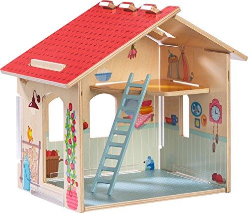 HABA Little Friends Homestead - Wooden Farmhouse with Upper Loft, Ladder & Detailed ()
