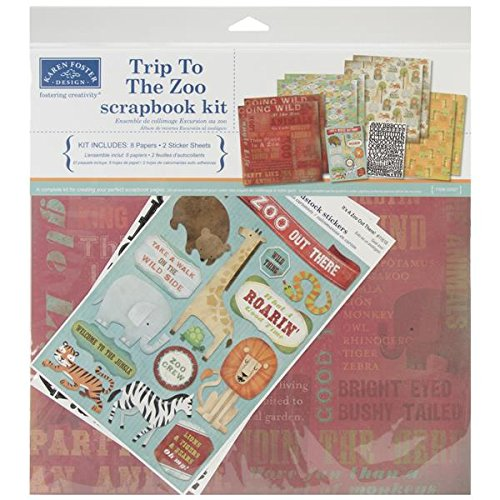 Karen Foster Design Themed Paper and Stickers Scrapbook Kit, Trip to The (Paper Zoo)