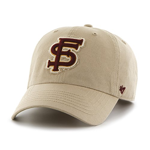 NCAA Florida State Seminoles Relaxed Fit Embroidered Khaki Cotton Cap by '47 (Cap Fsu)