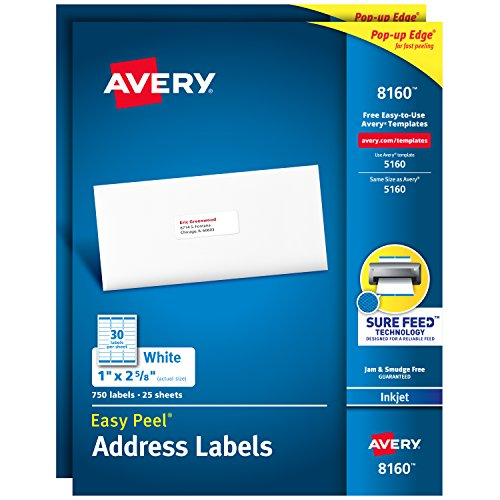 Avery Mailing Address Labels, Inkjet Printers, 1,500 Labels, 1 x 2-5/8, Permanent Adhesive (2 packs 8160)