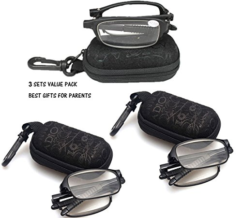 SOOLALA 3 Pairs Black Mini TR90 Folding Reading Glasses with Clip Holder Zipper Case 7 Strengths, +1.5D
