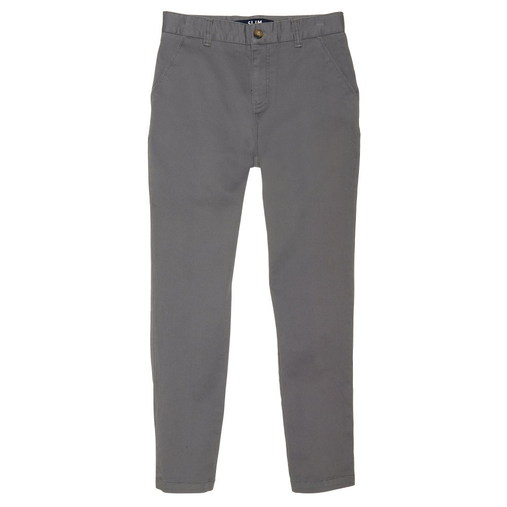 French Toast Boys' Little Straight Fit Stretch Chino Pant, Heather Gray, 7