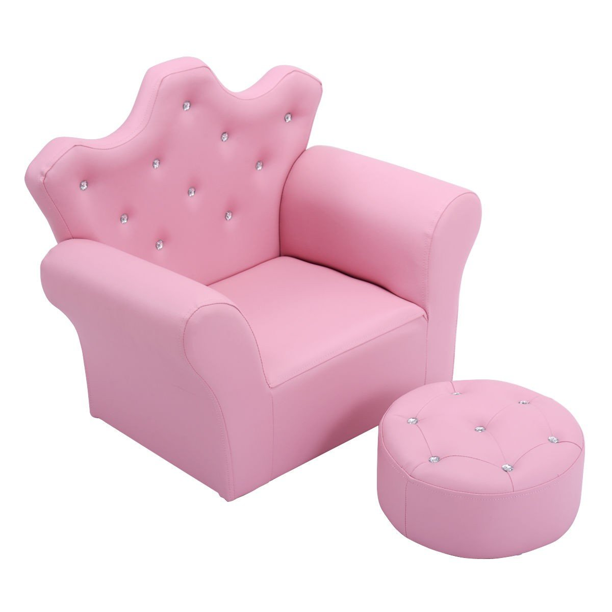 Pink Kids Sofa Armrest Couch with Ottoman