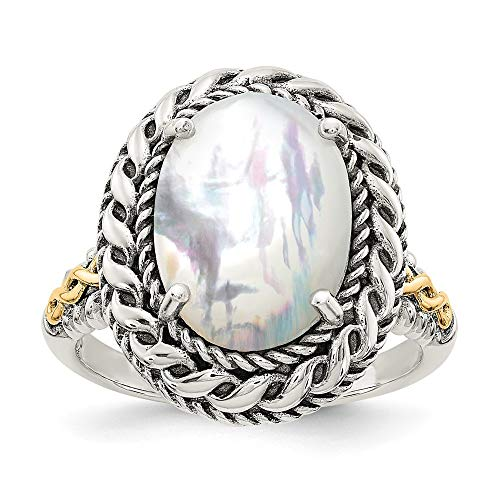 Roy Rose Jewelry Sterling Silver with 14K Yellow Gold Antiqued MOP Ring Size 8 ()