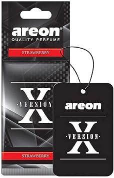 Areon X Auto Lufterfrischer Erdbeere Duft Schwarz Anhänger Aufhänger Spiegel Autoduft Pappe 2d Strawberry Set Pack X 6 Auto