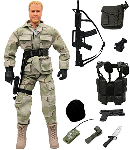 12 Figures Military Inch (Click N' Play Military Ranger Swat Unit Action 12