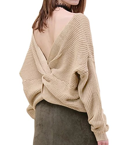 FOXSEN Womens' Sexy Deep V Neck Knitted Backless Tie Sweater Pullover Beige L