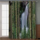 Blackout Patio Door Curtain,Waterfall,Snow Melt Rushes Down in Waterfalls Uncompaghre Peak Spring Time Picture,Khaki Green White,for Sliding & Patio Doors, 102' W x84 L