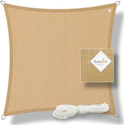 hanSe® Marken Sonnensegel Sonnenschutz Wetterschutz Wetterbeständig HDPE Gewebe UV-Schutz Quadrat 4x4 m Sand