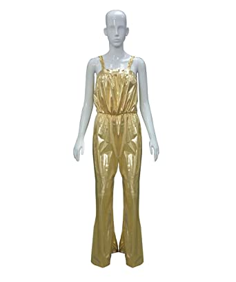 cc67c3ebe569 Amazon.com  Halloween Party Online Women s 70 s Gold Disco Jumpsuit ...
