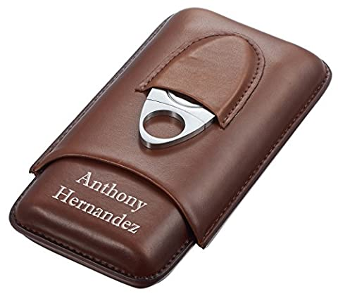 Personalized Legend Saddle Leather 3-Cigar Case and Cutter with Free Printing - Personalized Cigar Case