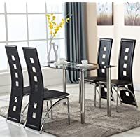Kaluo 5 PCS Modern Rectangular Dining Set, Glass Top Kitchen 4 Person Dinning Table and Chair Set (1 Table + 4 Dinning Chairs)