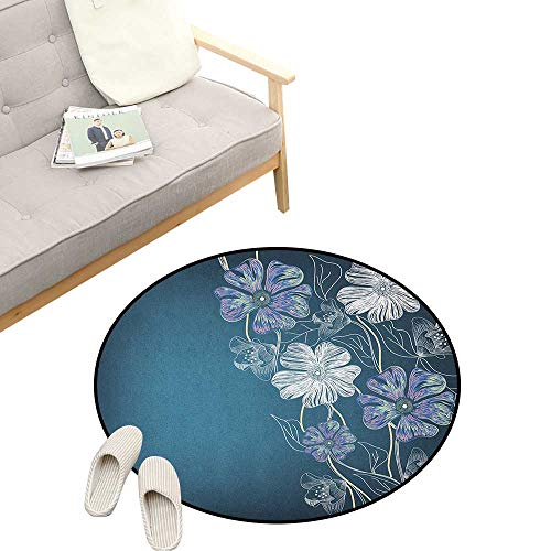 - Art Custom Round Carpet ,Hand Drawn Cherry Blossoms Fantasy Bridal Garden Anniversary Theme, Dorm Room Bedroom Home Decorative 23