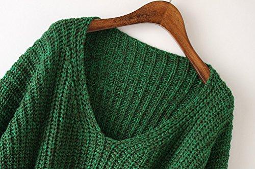 1 Tops Verde Maglia Donna maglioni Lunghe Maglietta Pullover oversize YouPue Maglione Girocollo Sweatshirt Casuale Maniche 6yqAy1P
