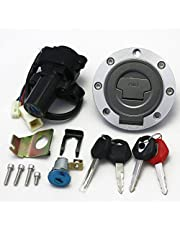 Ignition Switch Fuel Gas Cap Seat Lock Key Set for Yamaha YZF R1 2002-2003 2007 2009 2010 R6 2004 2006-2009 FJR1300 2001-2010 FZ6 FZ6S FZ6N 2004-2010