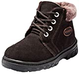 VECJUNIA Boy's Girl's Suede Lace Up Nonslip Snow Boots (Coffee, 3.5 M US Big Kid)