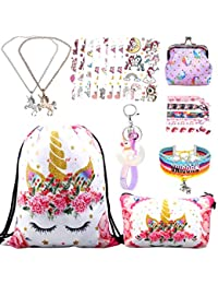 Unicorn Gifts for Girl Drawstring Backpack/Makeup Bag/Unicorn Pendant Necklace/Bracelet/Hair Ties