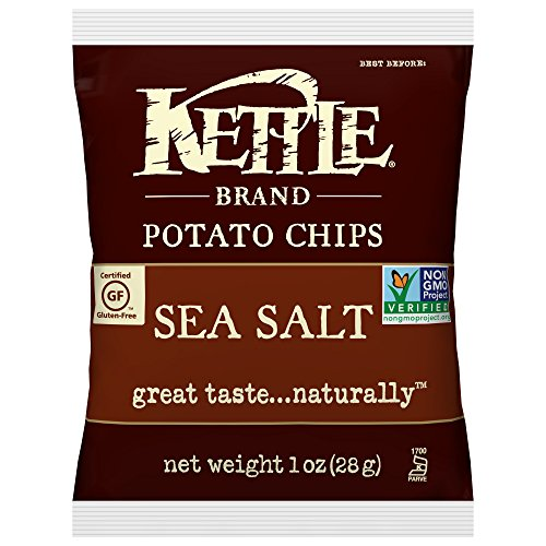 Kettle Brand Potato Chips, Sea Salt, Single-Serve 1 Ounce Bags (Pack of 72)