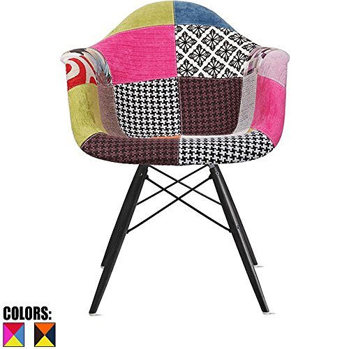 [2xhome - Multi-color – Modern Upholstered Eames Style Armchair Fabric Chair Patchwork Multi-pattern Dark Black Wood Wooden Leg Eiffel Dining Room Chair With arm for living room dining room…] (Eames Fabric)