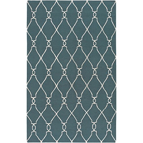 Surya Jill Rosenwald by Fallon FAL-1007 Flatweave Hand Woven 100% Wool Peacock Green 9' x 13' Global Area (Fallon Wool Rug)