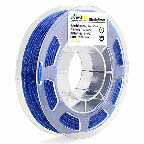 AMOLEN PLA Filament 1.75mm, Shiny Blue, 3D Printer Filament 200G(0.44lb) +/- 0.03 mm, Includes Sample Color Change from Green to Yellow with Temperature Filament.