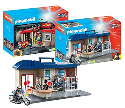 Action City Police Station (Playmobil City Action Playset Bundle with Take Along Fire Station Playset and Take Along Police Station Playset)
