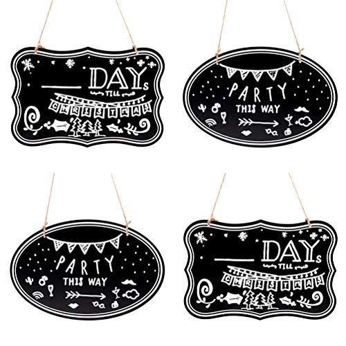 - UNIQOOO 8x12 inch Twine Hanging Decorative Chalkboard Sign, Double-Sided Non Porous Wooden Message Memo Board, Welcome Signs, Perfect for Wedding Party Home Cafe Salon Decoration, Set of 4