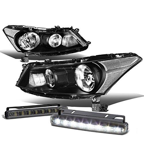 (For Honda Accord 8th Gen Sedan Pair of OE Style Black Housing Clear Corner Headlight + Smoked Daytime Running Fog Light)