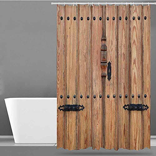 - VIVIDX Hotel Style Shower Curtain,Rustic,Wooden Door with Iron Style Padlock Gate Exit Enclosed Space of Building Picture,Bathroom Decoration,W60x72L Pale Brown