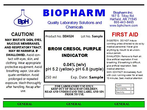 Brom Cresol Purple Indicator 0.04% w/v Aqueous Solution