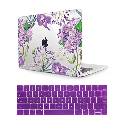 MTAOTAO Plastic Pattern Purple Watercolor flower Hard Shell Case with Keyboard Cover for MacBook Air 11(A1465/A1370)