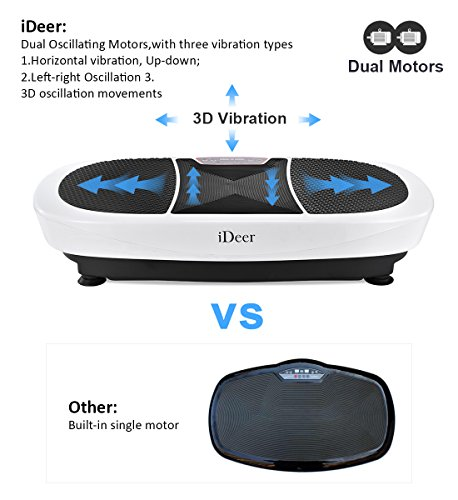 iDeer Vibration Platform Fitness Vibration Plates,Whole Body Vibration Exercise Machine w/Remote Control &Bands,Anti-Slip Fit Massage Workout Vibration Trainer Max User Weight 330lbs (White09007) by IDEER LIFE (Image #2)