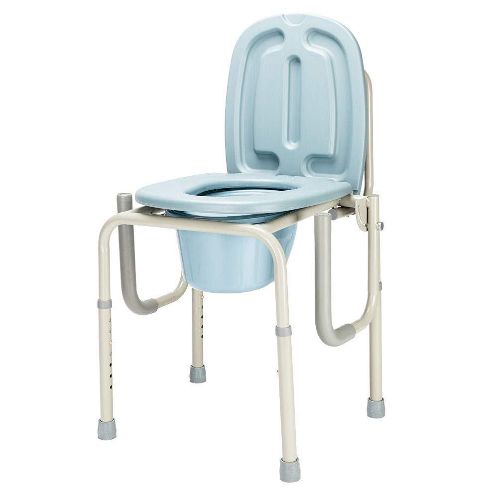 Height Adjustable Bedside Commode Seat Toilet Potty Chair Toilet Safety Frame Portable Versatile Multifunctional Elderly Disabled Handicapped People Hospital Medical Slip-Resistant Rubber Tips Chair by HPW (Image #3)