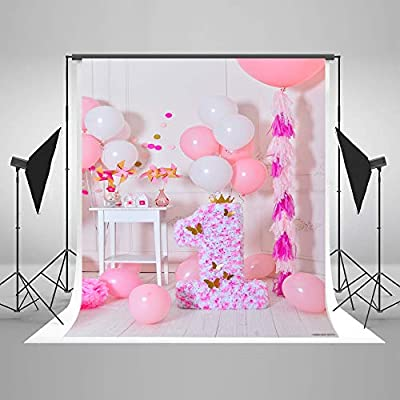 First Birthday Backdrop Girl 5x7 Pink Balloons Flower 1st with Gold Butterfly Photo Background Kids Birthday Photoshoot Props