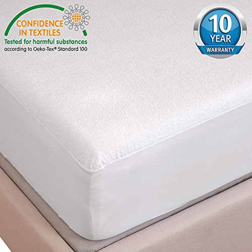 HYSENM Hypoallergenic Mattress Protector 100% Waterproof Breathable Soft Anti-mite Silent Terry Sheet, white, 63