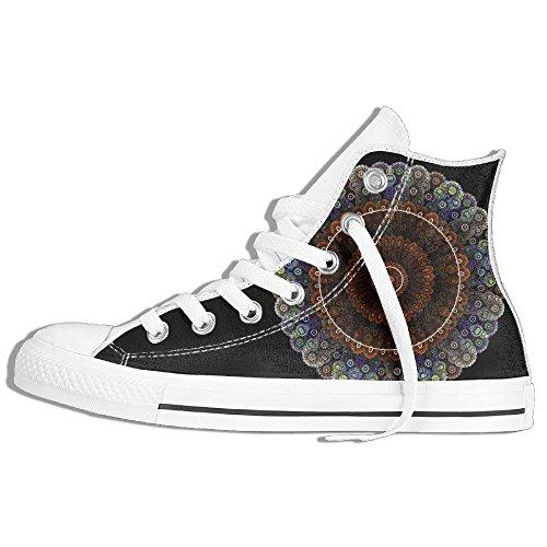 Classiche Sneakers Alte Scarpe Di Tela Antiscivolo Frattale Casual Da Passeggio Per Uomo Donna Bianco
