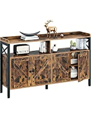 Rolanstar Console Table with Cabinet, Sideboard Buffet with Storage Cabinet and Open Shelf, Sofa Console Table for Entryway, Hallway, Home Kitchen, Living Room, Rustic Brown, 55 /47Inch