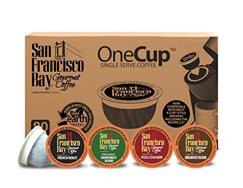 San Francisco Bay OneCup, Variety Pack, 80 Count- Single Serve Coffee, French Roast - Fog Chaser - Rainforest - Breakfast Blend, Compatible with Keurig K-cup Brewers