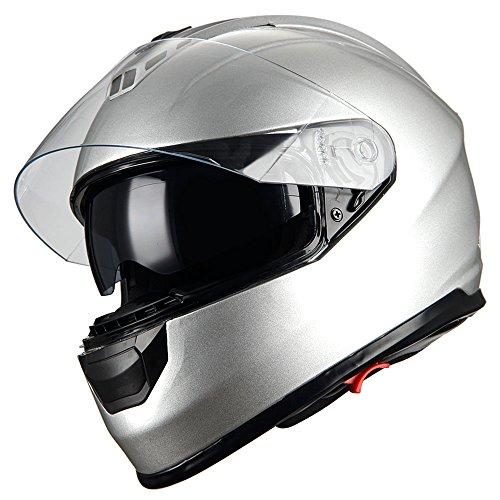 (1Storm Motorcycle Full Face Helmet Dual Lens/Sun Visor Glossy Silver)