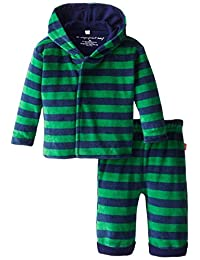 Magnificent Baby Baby-Boys Infant Velour Hoodie and Pants, Green/Navy, 6 Months