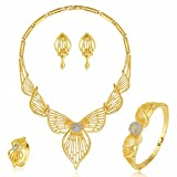 Moochi Gold Plated Hollow Pendent Scarf Style Jewelry Set
