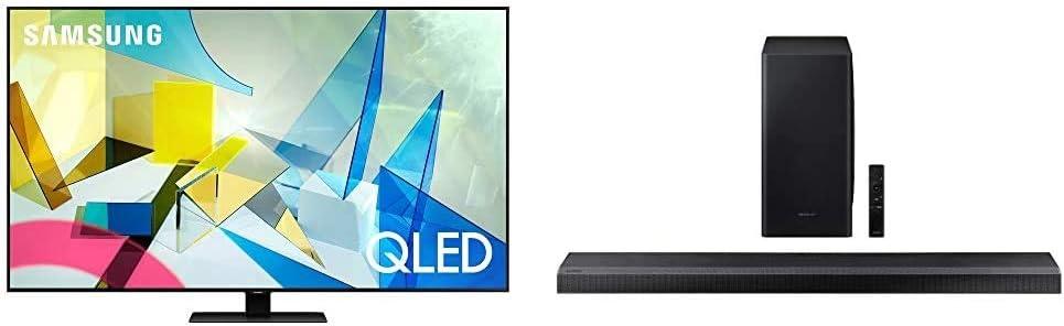 SAMSUNG 55-inch Class QLED Q80T Series - 4K UHD Smart TV with Alexa Built-in (QN55Q80TAFXZA, 2020 Model) + HW-Q800T 3.1.2ch Soundbar with Dolby Atmos/DTS:X and Alexa Built-in (2020)