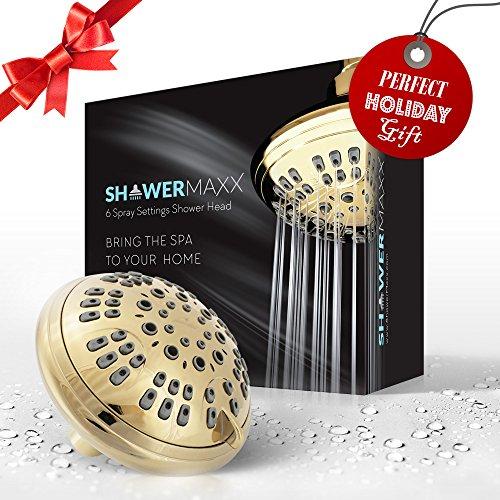 ShowerMaxx Shower Head 6 Spray Settings | Luxury Spa Grade Fixed Rainfall Filtered Showerhead | Adjustable Brass Swivel Ball Joint & Teflon Tape | Premium Polished Brass Finish
